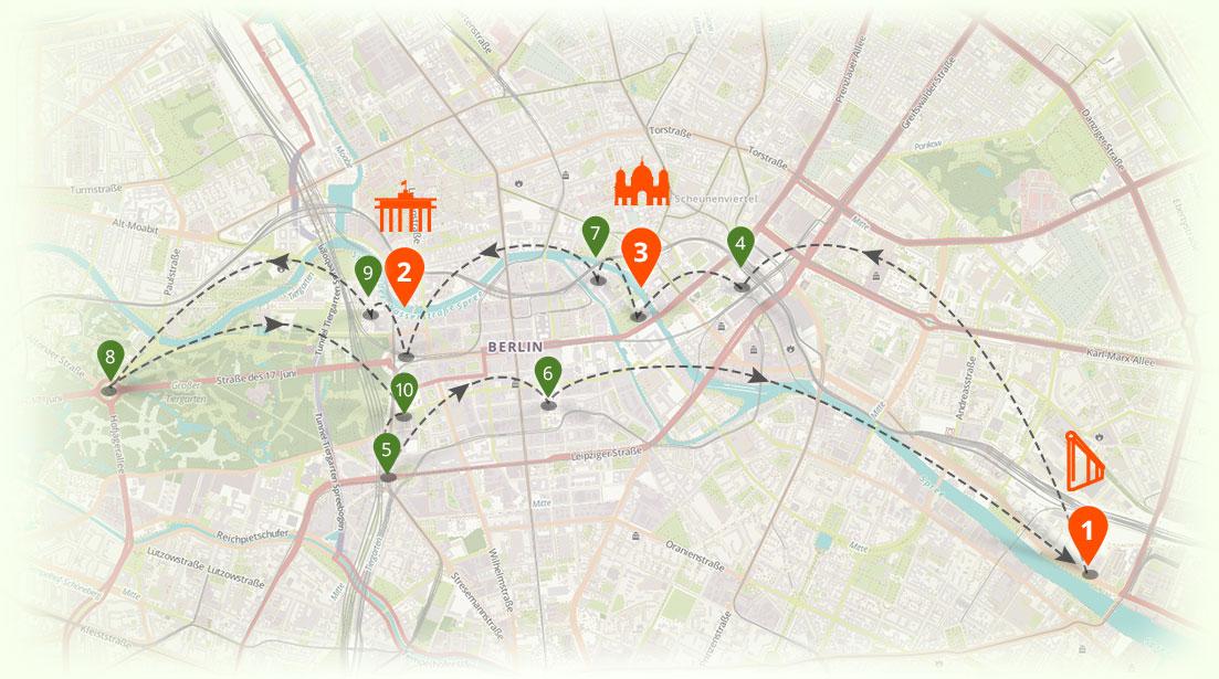 Berlinkarte mit Top10 Sehenswürdigkeiten