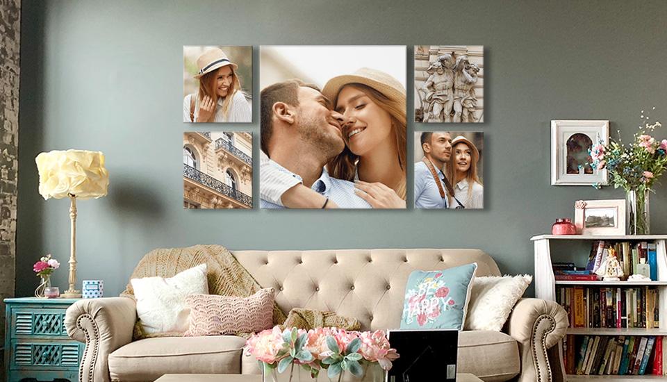 bilderwand collage ueber couch