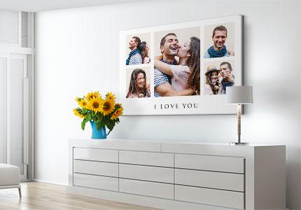 Fotocollage auf Leinwand über Kommode