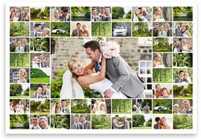 Fotocollage aus vielen Bildern auf Leinwand