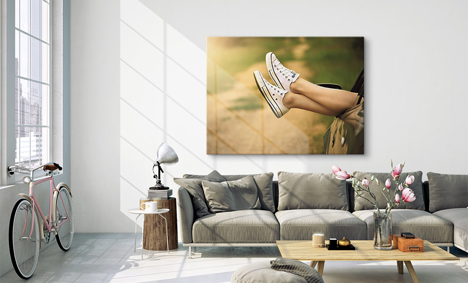 Günstige Fotoleinwand über dem Sofa