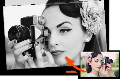 Schwarz-weiß Leinwandfoto vom eigenen Foto