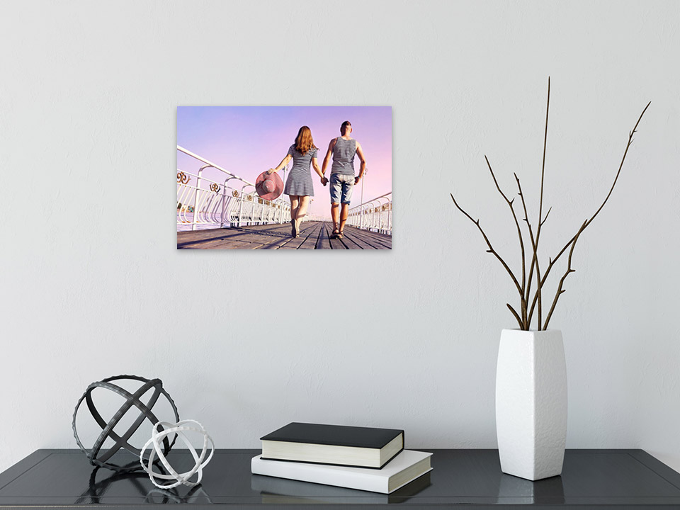 Kleine Fotoleinwand in 20x30 cm über Schreibtisch