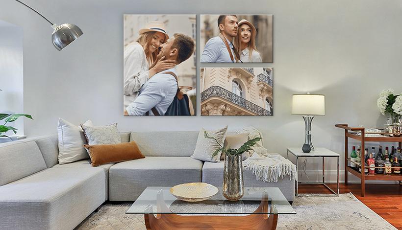 mehrteiliges wandbild wohnzimmer