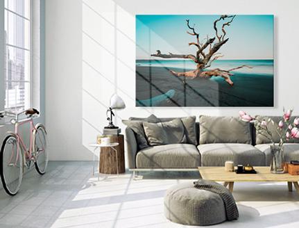 Fotoleinwand auf Keilrahmen über Sofa